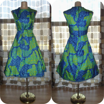 Vintage 60s AMAZING Op-Art Full Cocktail Party Dress Green & Blue Silk S/M