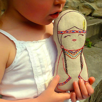 Native American Indian doll/ Linen Plush Doll/ Stuffed Toy/ Decor - Tallulah - Made to order-FREE WORLDWIDE SHIPPING
