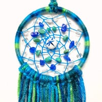 Blue & Green Multicolor Dragonfly Crystals Dream Catcher