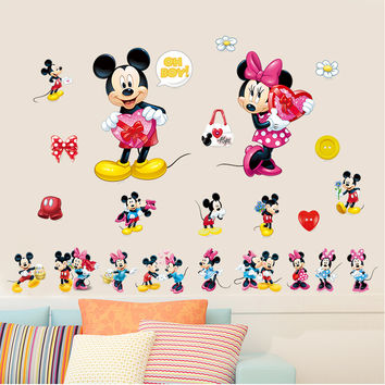 newest diy Cartoon Mickey Minnie Mouse animnals home decal wall sticker for kids room amusement decor LOVE Flower birthday gift
