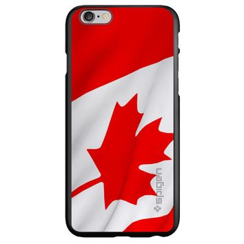 DistinctInk® Spigen ThinFit Case for Apple iPhone or Samsung Galaxy - Red White Canadian Flag Canada