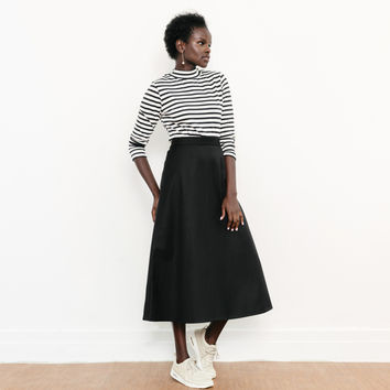 Black A-Line Midi Skirt by Permanent Collection By Of A Kind for Of a Kind