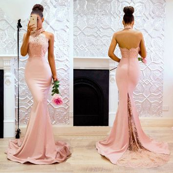 Robe demoiselle d'honneur Mermaid Lace Pink Bridemaid Dresses 2018 Sexy Backless Halter Applique Prom Dresses Party Gowns
