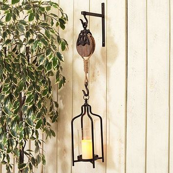 Metal and Wood Hook With Lantern