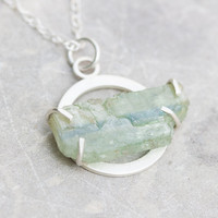 Silver necklace with rough kyanite - modern, minimalistic
