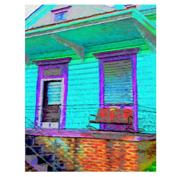 Colorful New Orleans Turquoise and Purple House Giclee Print 8x10 11x14 16x20 - Red Glider - Korpita