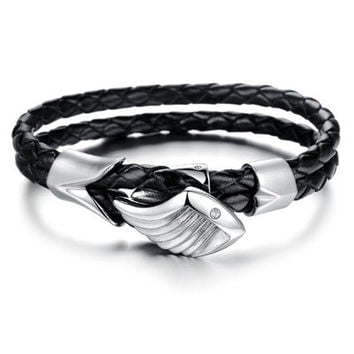 Genuine Leather and Wing Stainless Steel Bracelet