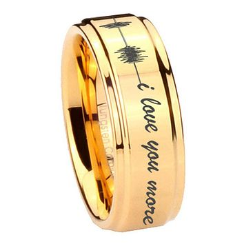 8MM Glossy Gold Step Edges Sound Wave i love you more more Tungsten Carbide Laser Engraved Ring