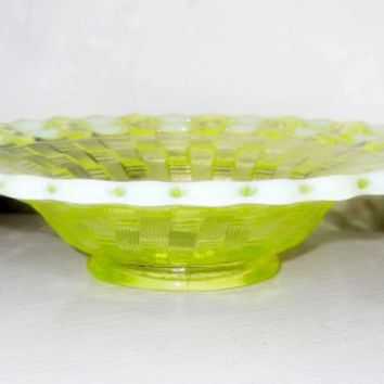 Vintage Fenton Glass Vaseline Opalescent Basket Weave  Open Lace Flat Rim Whimsy Bowl