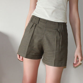Preppy high waist shorts - olive brown tweed wool, nerdy vintage style fashion - medium