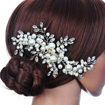 New Hair Accessories For Women Crystal Peral Flower Tiaras Crown Princess Wedding Bride Floral Hair combs Hairpin Jewelry