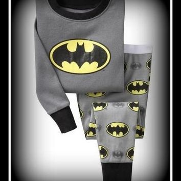 Boys Batman Pajamas Nightwear Long Sleeve
