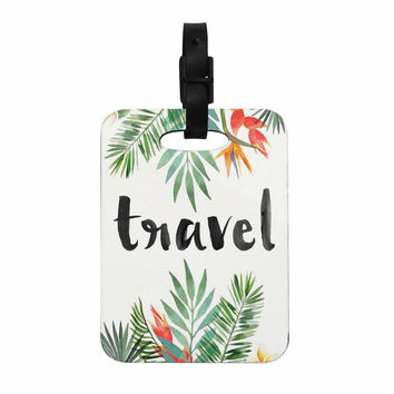 "KESS Original ""Travel"" Green White Decorative Luggage Tag"