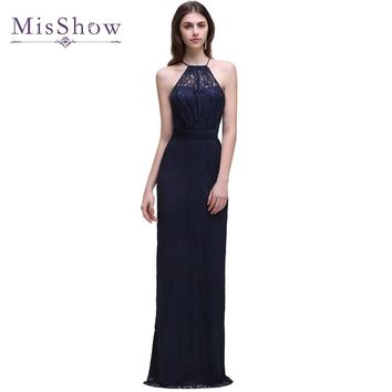 2017 New arrival Navy Blue Lace Halter Bridemaid Dresses Backless A-Line Floor-Length Formal Wedding Party Gowns
