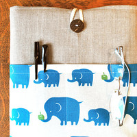 11 inch laptop Macbook Mac book Air Cover Padded Case Sleeve - Linen with Kokka Linen Blue Elephant Fabric Pocket