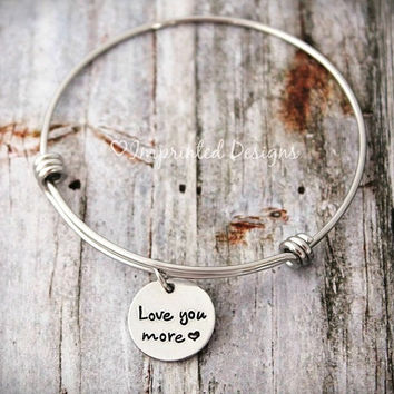 Wire Bangle Bracelet - Love You More - Charm Bracelet - Couples - Mother Daughter - Adjustable - Personalized