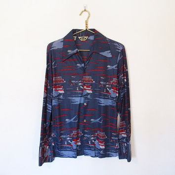 Men's Vintage 1970s Disco / Air Traffic Controller / Airplane Novelty Print Button-down Shirt
