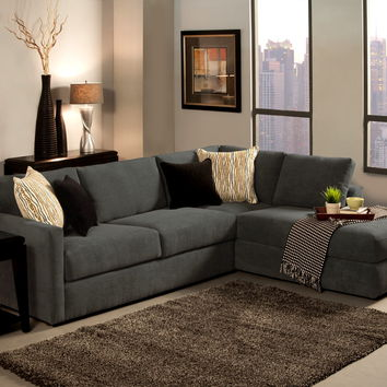 2 pc cachet shark fabric upholstered sectional sofa set with chaise lounge and wrap around back ** Clearance **