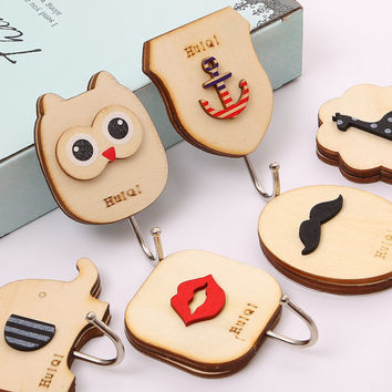 1 pcs Cute animal Owl wooden hook cabinet door free nail Multi-functional Clothing Hanger Sundry Hanging Hooks Free Shipping