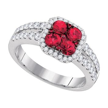 14kt White Gold Womens Round Natural Ruby Cluster Diamond Halo Bridal Ring 1-1/3 Cttw