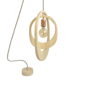 Geometric Orbit Wooden Pendant Light Wooden Lighting Ceiling Lamp Wood Chandelier Light Copper Retro Rose Gold Light Suspension Light