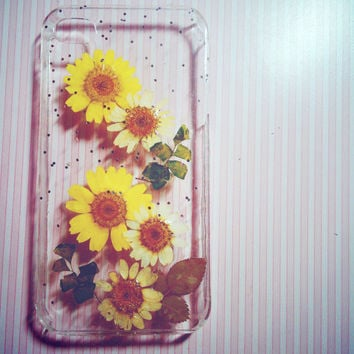 Handmade Rustic Natural Real Floral Yellow Sunflower pressed flower Leaf iPhone 5 4S iPhone 6 6 plus Galaxy S5 S4 Cell Phone case Gift