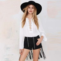 Black Pocket Shorts with Fringed Back