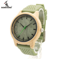 BOBO BIRD High Quality Men's Quartz Watch With Silicone Strap Green Wooden Bamboo Casual Japanese Movement Watch With Gift Box