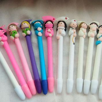 20pcs/lot new arrival polymer clay doctor nurse character ballpoint pen  promotional hospital gift pen creative novelty pen
