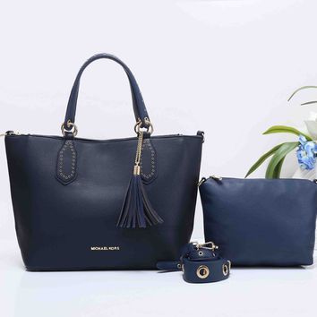 MK MICHAEL KORS Women Shopping Bag Leather Tote Handbag Shoulder Bag Two Piece Set Dark blue G-XS-PJ-BB