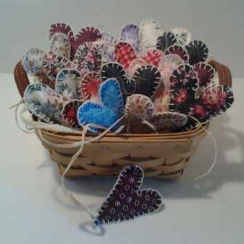 Handmade Fabric Hearts, Valentines Day, Party Decor, Party Supplies, Available With Longaberger Vintage Tea Basket Handmade 2003 With Charge