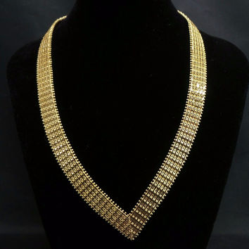 "Solid 14k Yellow Gold Diamond Cut Woven Mesh Cleopatra V-Shape 16"" Necklace"