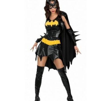 Batman fancy dress halloween costumes for women Sexy Halloween Batgirl Hero Black Dress Mask Gloves Fancy Costume Cosplay zy301