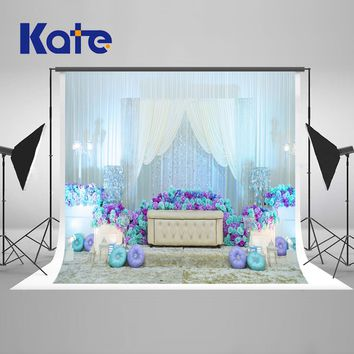 KATE Wedding Backdrops 10x10ft Wedding Flower Photography Backdrop Blue and White Curtain Backgrounds for Photo Studio
