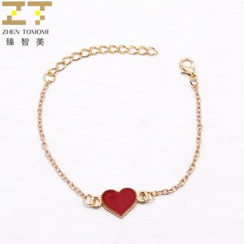 New Hot Fashion Bijoux Simple Black Red Drop Oil Heart Butterfly Unlimited Charm Bangles Bracelets For Women Jewelry Gifts