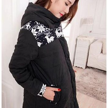 Black Floral Pockets Hooded Long Sleeve Maternity Coat