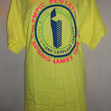 Vintage 90s Neon Pentathalon Atheletic Club T Shirt One Size Fits All