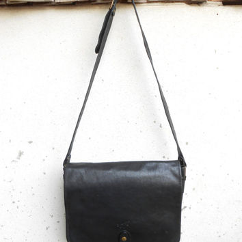 Vintage KATANA PARIS Black Leather Messenger Bag , Leather Crossbody Bag / Medium-Large / Unisex