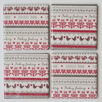Folk Pattern Ceramic Tile Coasters Birds and Hearts Red and Grey Cottage Country Style Christmas, set of 4