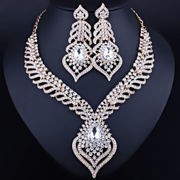 Silver Plated White Crystal Rhinestones Feather shaped Necklace Earring SET