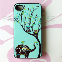ON SALE Elephant and Owls  iPhone 4 Case  iPhone 4s by FantasyCase