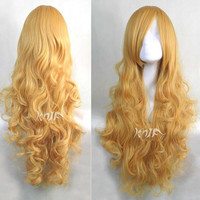 31 inches yellow wavy harajuku wigs hair extension anime Cosplay wigs Hallowmas Christmas KARNEVAL party gift