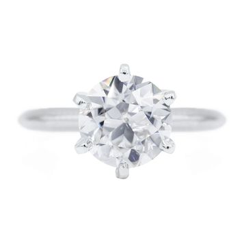 Old European Cut (OEC) Round Moissanite 14K or 18K White Gold 6 Prongs Solitaire Ring