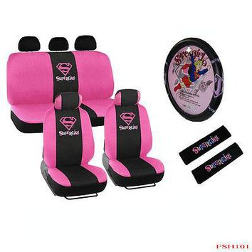 Licensed Official New 13pcs Pink SuperGirl Car Front Back Seat Covers & Steering Wheel Cover Set
