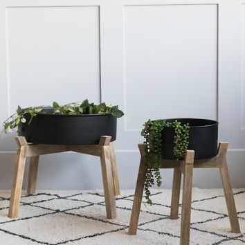 Black Iron & Wood Plant Stand - Two Sizes