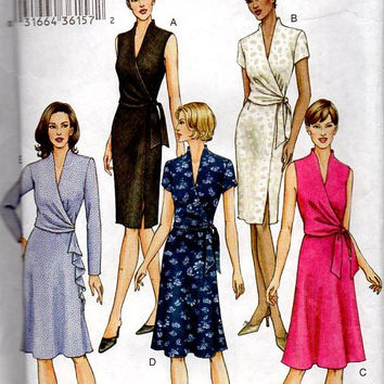 Vogue 7693 Sewing Pattern Classic Style Wrap Dress Casual Day Business Deep V Neckline Long Short Sleeves Bust 32