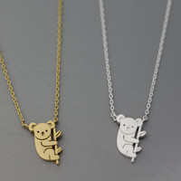 Cute Koala Pendant Necklace  -  Available color as listed ( Gold, Silver )