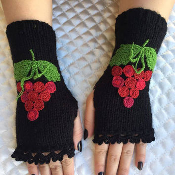 Knitted Fingerless Gloves, Black, Grape Embroidered, Accessories, Gloves&Mittens, Gift Ideas, Turkish handicraft, Clothing and Accessories