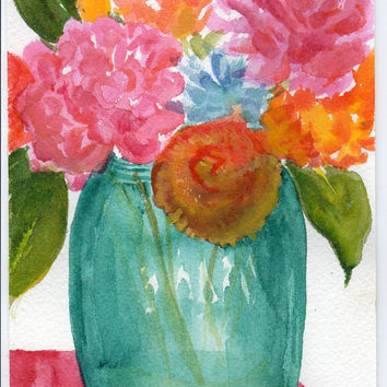 Original Flowers in Blue Mason Jar watercolor by SharonFosterArt