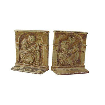 Scholar Enamel Cast Iron Bookends